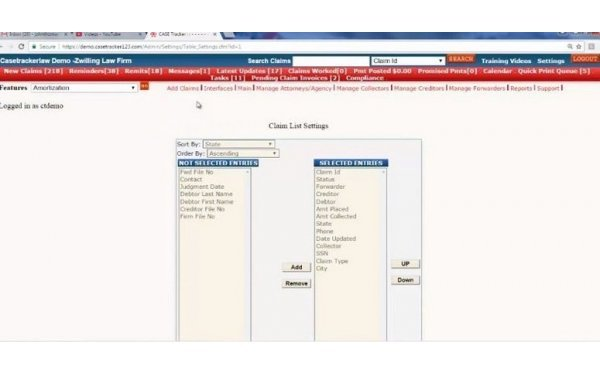 Claims list search