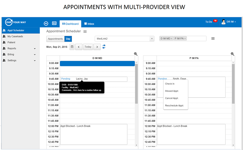 Appointments with multi-provider view