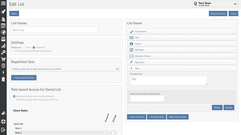 List and form builder